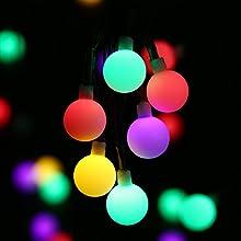 lederTEK Guirnalda de Luz de Navidad con Energía Solar (7m 50LED) para Árbol de Navidad, Patio, Jardín, Terraza y Todas las Decoraciones con Diseño de Bolas de Colores