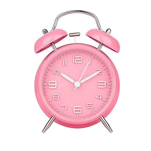 DreamSky Doppelglockenwecker mit Nachtlicht, großes Zifferblatt von 4 Zoll, Analog Quarzwecker mit lautem Alarm,kein Ticken, geräuschlos, Kinder Wecker Batteriebetrieben(Pink)