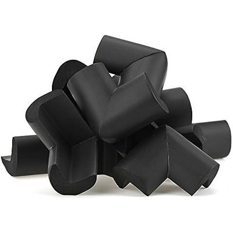 FiveSeasonStuff 12 piezas Antigolpes Proteccion Protectores Espuma Esquinas Mesa y Mueble Seguridad para Ninos (Negro 12 x Grande L-Forma  Protectores Espuma Esquinas (Espesor: 8mm-12mm)