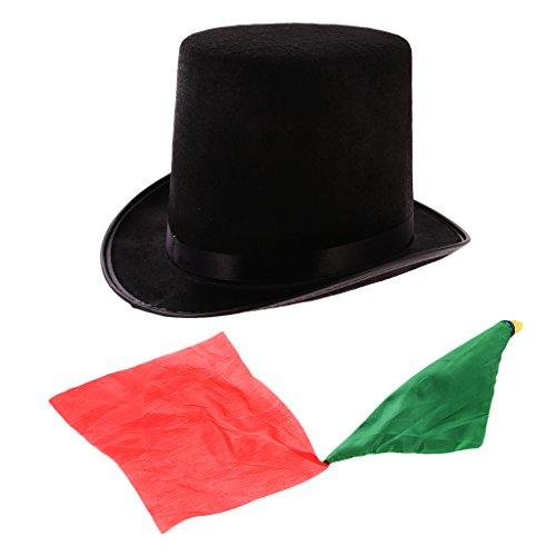 Sharplace cilindro cappello magico + salviette di stoffa di seta cambia colore trucco magico