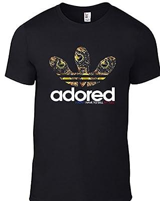 Stone Roses ADORED Lemon T-shirt with Trainers Adidas Logo CD Print Image BLACK