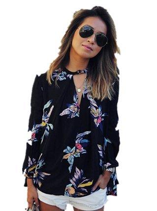 CYBERRY.M Femme Fille Manches Longues Lâche Fleur Imprimé T-shirt Blouse Chemise Top (M, Noir)