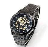 SHENHUA Espritshopping® Montre pour Homme Bracelet Acier Noir Classe Automatique Sport Mecanique Design Elegante Habillée Mécanisme Apparent