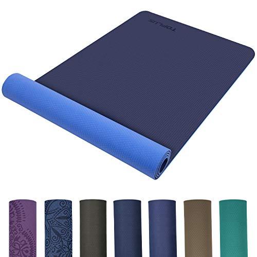 TOPLUS Preumium Yogamatte aus hochwertigen TPE, rutschfest Yogamatte Gynastikmatte Übungsmatte Sportmatte für Yoga, Pilates,Fitness usw.- Blau