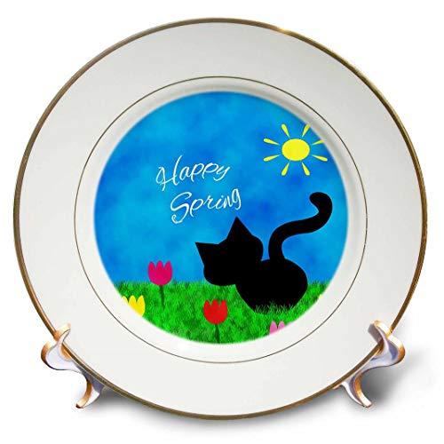3drose schwarz Kitty Cat Cute Colorful Tulpen Happy Spring, Porzellan Teller, 20,3cm (CP _ 180749_ 1)