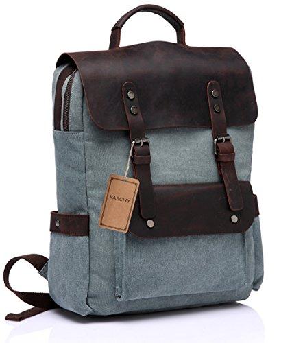 Vaschy zaino vintage tela pelle Laptop Backpack Vaschy casuale della tela di canapa Campus Scuola Zaino con 15in scomparto portatile Verde pallido