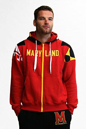 Twin Vision Activewear Herren Jacke Maryland Terrapins NCAA Full Zip Hoodie Jacke (rot), Herren, schwarz, Medium -
