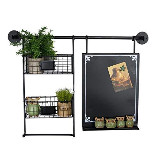 MTX Ltd Eisen Wandrahmen für Wohnzimmer Schlafzimmer Küche Dekorative Anzeige Schwebende Blume Magazin Lagerregal Retro-Stil 2 Tier Korb Tafel, Schwarz -