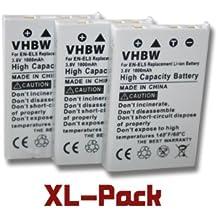 3x vhbw baterías para Nikon CoolPix 3700 4200 5200 5900 7900 P3 P4 P500 P5000 P510 P520 P5100 P6000 P80 P90 P100 S10, Klicktel K5 K400 K410 por EN-EL5
