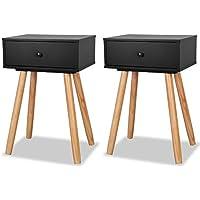 vidaXL 2X Table de Chevet Bois de Pin Massif Noir Table de Nuit Commode