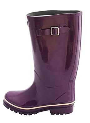 Bottes de pluie Wellington caoutchouc- Femme- mollets larges 42-45cm- plusieurs motifs disponibles - intérieur fourrure synthétique (37, Violet)