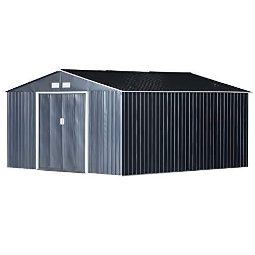Outsunny Gerätehaus 24,5 m³ Geräteschuppen Gartenhaus mit Fundament Schiebetür Stahl 340 x 382 x 200 cm