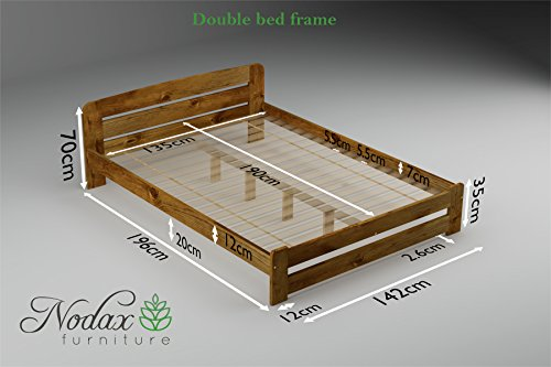 "New Solid Wooden Pine Bed Frame with plywood slats""ONE"" :(OAK, 135 cm_x190 cm)"