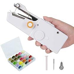 Machine à coudre portative, mini outil de ménage de point électrique sans fil de rideaux portatifs pour l'utilisation de voyage à la maison avec 28 couleurs de fil de canette, d'aiguille et de fileur