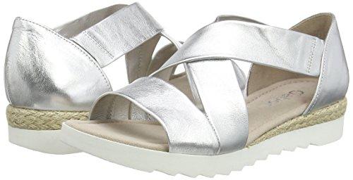 gabor shoes damen offene sandalen silber 10 silber 40 5 eu. Black Bedroom Furniture Sets. Home Design Ideas
