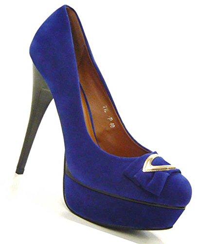 Schuh-City High Fashion Sky Heels elegante Damen Pumps sexy Steletto Blau