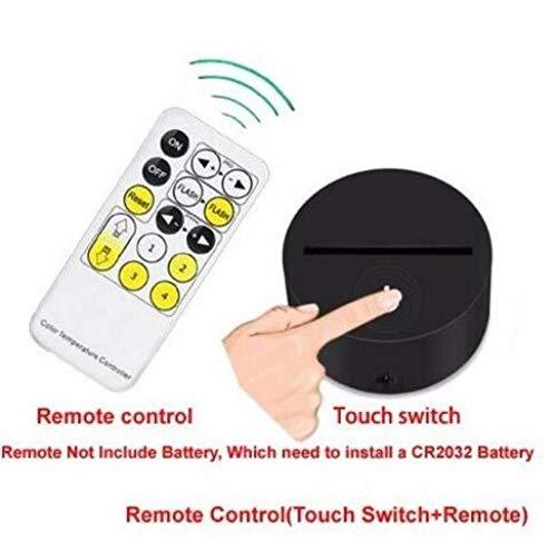 ClockGH Abstrakt Gehirn Nachtlicht 3D USB-Touch-Schalter & Fernbedienung Acryl gravieren 7 Farbverlauf Atmosphäre Tischlampe 3D-533 @ with_Remote_7_Colors_Change -