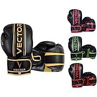 Vector Deportes Guantes de boxeo para hombres mujeres, Maya Ocultar de piel hecho a mano estilo Pro para kickboxing sparring saco entrenamiento – Color oro rosa verde rojo – talla 8 10 12 14 16 oz