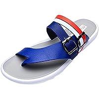 Flip Flops Herren,sonnena Mode Männer buchstaben Strand Schuhe Flip-Flops Flache Folien Flip-Flops Hausschuhe Startseite Sandalen Solide / Wedges / Knöchel / Plattform / (40, Gut Blau )