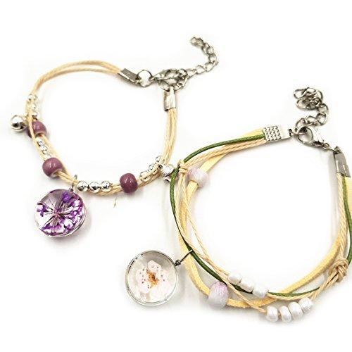 Armband für Damen/Mädchen echte Blume Lavendel Cherry Blossoms in Glassball mit Porzellan Perlen Handgelenk Dekoration Fresh Chinesischer Stil Folk Art Keramik Zubehör mit Elegante Schmuck Tasche 2 - Perlen-cherry