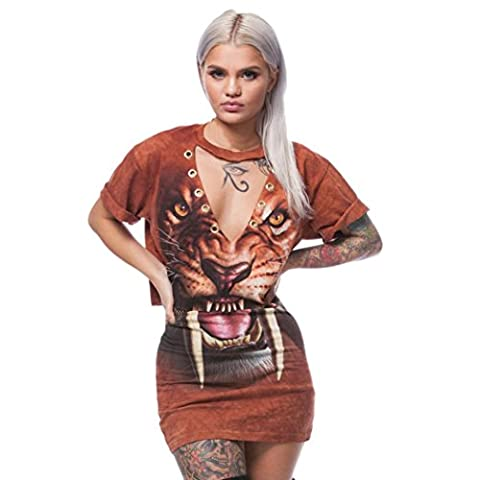 Rosennie Women Tiger Print Split 2 Piece Set Casual Skirt
