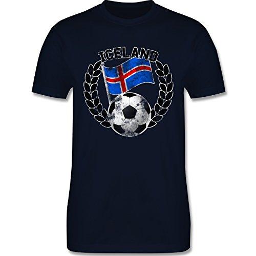 EM 2016 - Frankreich - Iceland Flagge & Fußball Vintage - Herren Premium T-Shirt Navy Blau