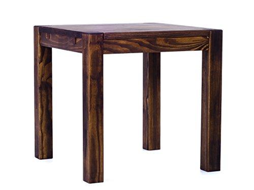 Brasilmöbel® Esstisch 80x80 Rio Kanto - Eiche antik Pinie Massivholz - Größe & Farbe wählbar - Esszimmertisch Küchentisch Holztisch Echtholz - vorgerichtet für Ansteckplatten - Tisch ausziehbar