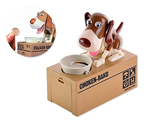 DSstyles Hungry Dog Piggy Bank Money Saving Box Eating Coin Munching Toy Ideal Birthday Gift, Christmas Gift for Kids, Children