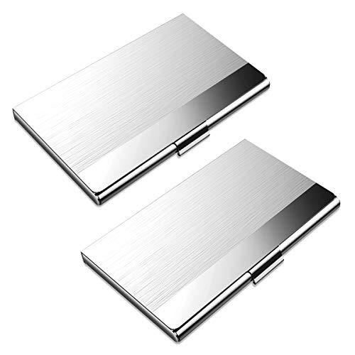 OZUAR 2 Pack Visitenkartenetuis Professioneller Kartenhalter für Visitenkarten, Edelstahl Aufbewahrungsschützer Taschen für ID-Karten Kreditkarten (9.3 x 6 x 0.7cm)