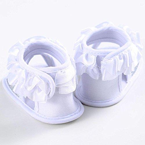 Hunpta Baby Sandalen Kleinkind Prinzessin erste Wanderer Blumenmädchen Kind Schuhe (Alter: 12 ~ 18 Monate, Rosa) Weiß