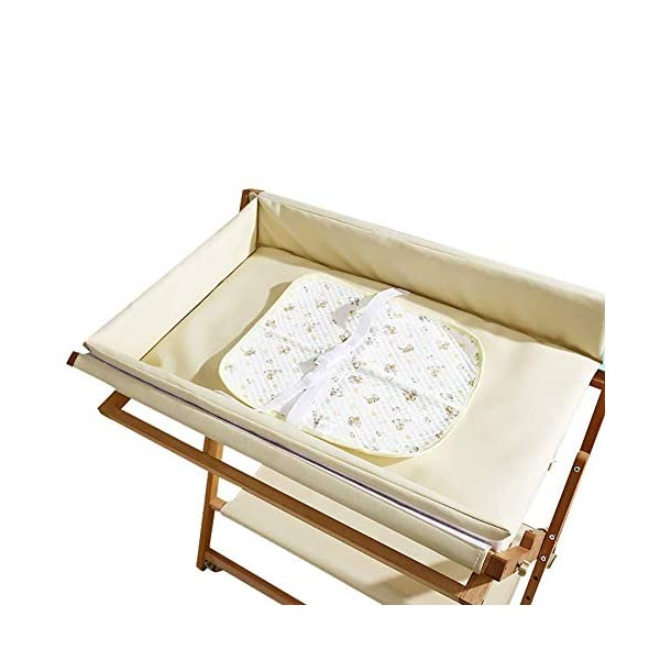 Wooden Baby Diaper Changing Table Folding Care Station with Casters, Storage and Cushion, Nursery Organizer for Small Space (Color : White) GUYUE Beech Material: Birch wood hard, good load bearing performance, no deformation, strong pressure resistance, clear texture. High-grade PU Leather: It has excellent wear resistance, excellent breathability, aging resistance, soft and comfortable. Size: As shown, 80x56x(80-85-90-95)cm, Bearing weight 150kg. 4