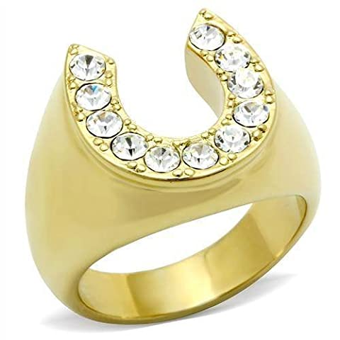 YourJewelleryBox GL041pb MENS MANS 1CT LUCKY HORSE SHOE RING SIMULATED