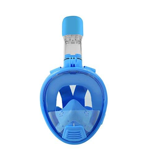 NEOpine Kinder 180 ° Wide View Full Face Schnorchelmaske Leicht Breathing.No Undichte Anti-Fog Schnorcheln Maske Set.Durable Silikon Tauchmaske Pakete für Kinder. (blau, S)