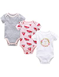 Conjunto de Monos 3 Piezas para Recién Nacido Niña Niño Mameluco Bebé Manga Corta Body de Algodón 0-12 MESI