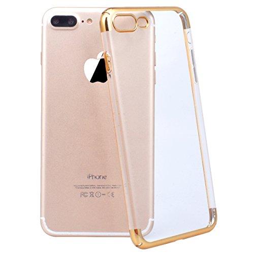 Yokata iPhone 7 Plus Hülle Transparent Premium Hart PC Schale Ultra Dünn Slim Crystal Clear Case mit Galvanik Rahmen harte Schutzhülle Anti-Kratzer Durchsichtig Protective Cover für iPhone 7 Plus (5,5 Gold