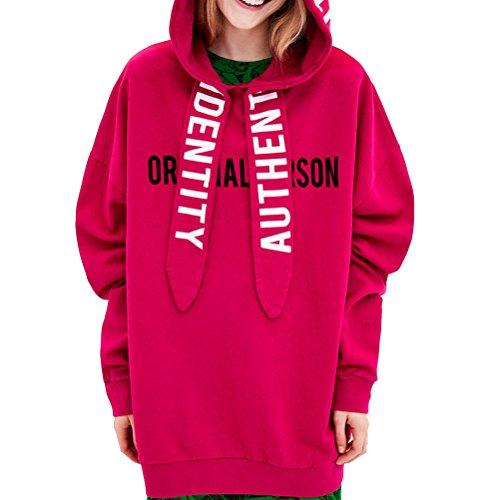 YUFAA ORININALPERSON Hoodies für Frauen Langarm Sweatshirts Lässige Pullover Tops Kordelzug (Color : Rot, Size : M)