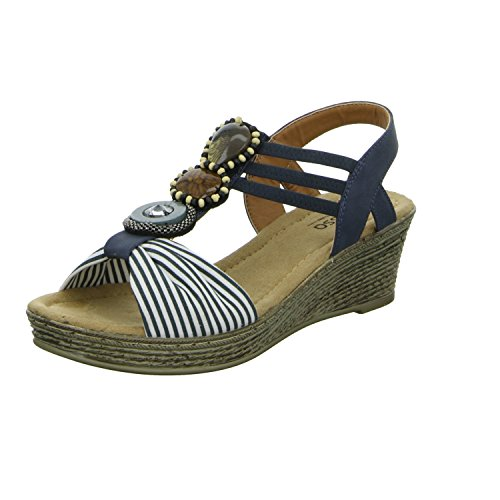 Alyssa A687-5 Damen Sandalette eleganter Boden Blau (Blau)