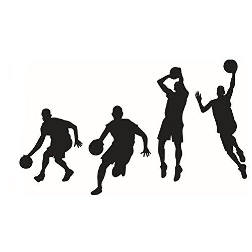 VORCOOL Wand Aufkleber Abnehmbare Basketball Spieler Dekor Vinyl Inspiration Wall Decor - schwarz (53x84cm)