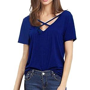 Hansee Blusen Shirt Tops, Heißer Mode Damen Shirts Blusen Tops Frauen Kurzarm V-Ausschnitt Strap Solid Casual Grundlegende T-Shirt Top Bluse Shirts Blusen Tops