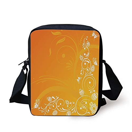 Themed Abstract Composition with Ornate Flora Eggs and Butterflies,Orange Yellow White Print Kids Crossbody Messenger Bag Purse ()
