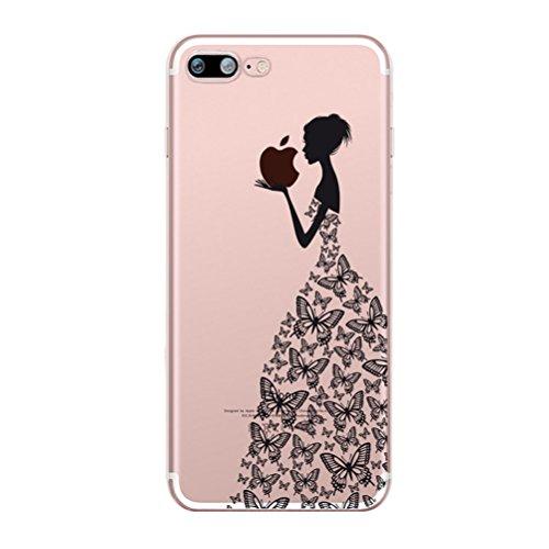 Custodia iPhone 7 [Pellicola Protettiva In Vetro Temperato], Bestsky Cover iPhone 7 Trasparente con Disegni Morbida Gel Silicone Antiurto Bumper Case, Giraffa Ragazza di farfalla