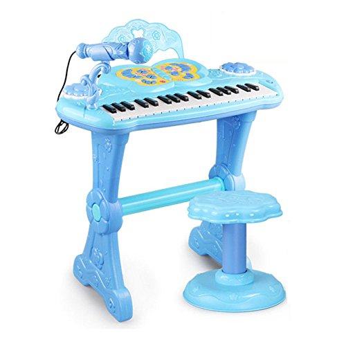 QXMEI Kinder-Keyboard 37-Tasten Klaviertastatur mit Mikrofon Magic Voice Changer Multifunktions-Piano (Pink Blau),Blue