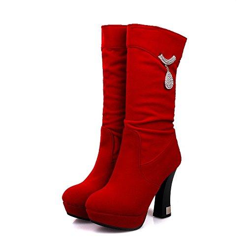 AgooLar Damen Mitte-Spitze Ziehen auf Mattglasbirne Hoher Absatz Rund Zehe Stiefel, Rot, 37