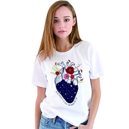 YUFAA Kurzarm-Cartoon der Frauen-menschliches Herz-Muster-Druck-lose T-Shirt Oberseite Sweatshirt (Color : Weiß, Size : S)