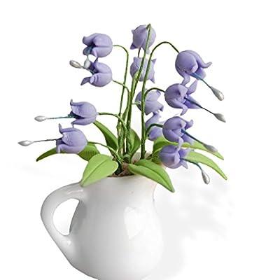 1/12 Dollhouse Miniature Accessory Clay Plant Flores Convallariae In Ceramic Vase