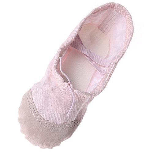 Feoya Chaussons de Yoga/Danse Classique en Toile avec Fleur pour Fille Femme Chaussure de Danse Ballet Ballerine - Rose - FR 23
