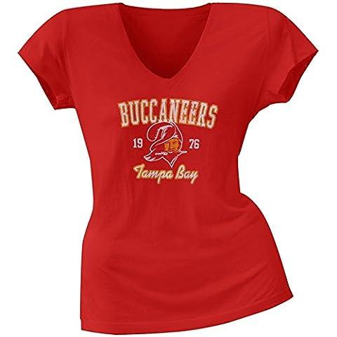 Tampa Bay Buccaneers Old Glory - Logo para mujer de nave espacial diseño de los boca V-cuello T-de manga corta de mujer