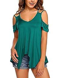 64a621599dd2 Landove Camisetas Sin Tirantes Mujer Básica Tops Manga Corta T Shirt Verano  Elegante Moda Blusa Casual