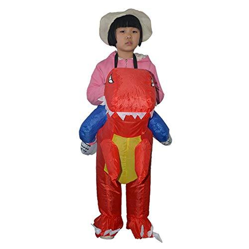 WEIWEITOE-DE Lustige aufblasbare Tier Dinosaurier reiten Kleidung Party Cosplay Blowup kostüm für Kind/Erwachsene/Teenager, rot, (Aufblasbare Kostüm Reiten Dinosaurier)