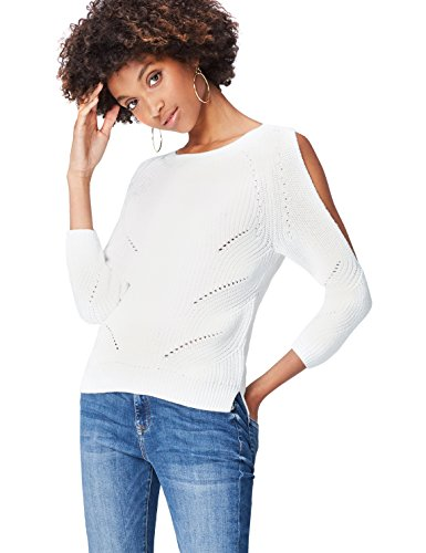 c37da5bd76 find. Rib Detail Cold Shoulder Suéter para Mujer, Blanco (Ivory), 46 (Talla  del Fabricante: XX-Large)